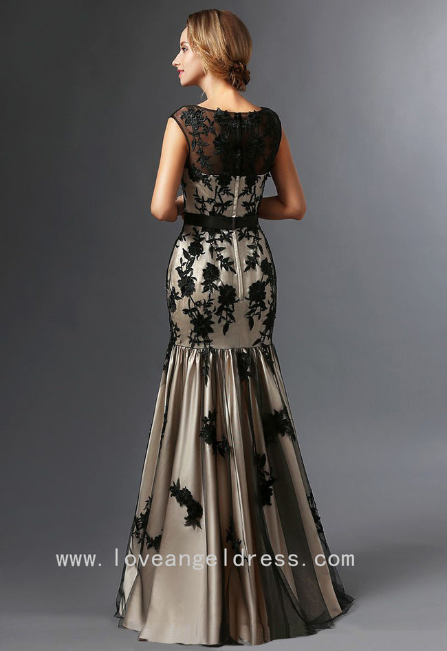 illusion-boat-neck-black-floral-lace-mother-of-the-brides-dresses-cap-sleeves-1