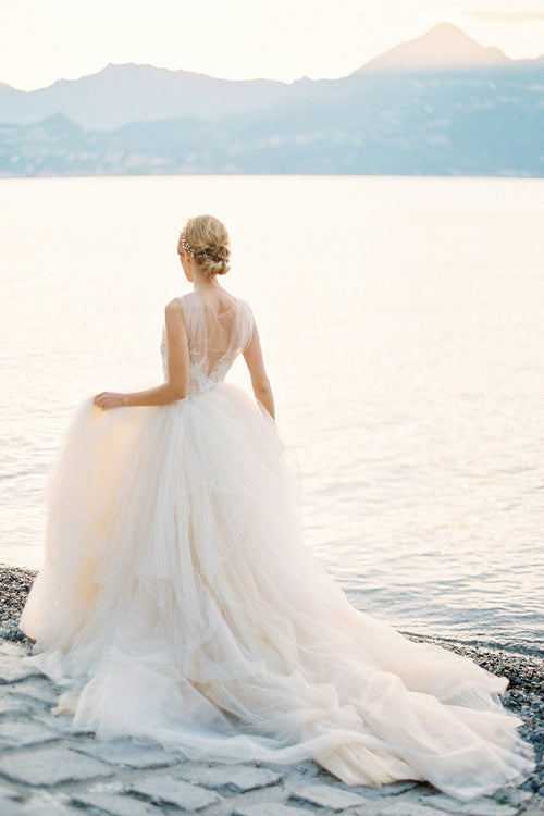 illusion-bodice-lace-ball-gown-wedding-dress-tulle-skirt