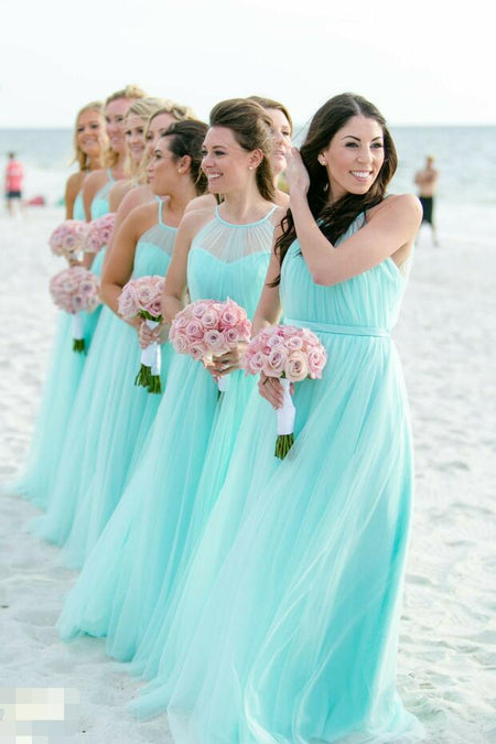 Long Chiffon Coral Bridesmaid Dresses with Draped Neckline