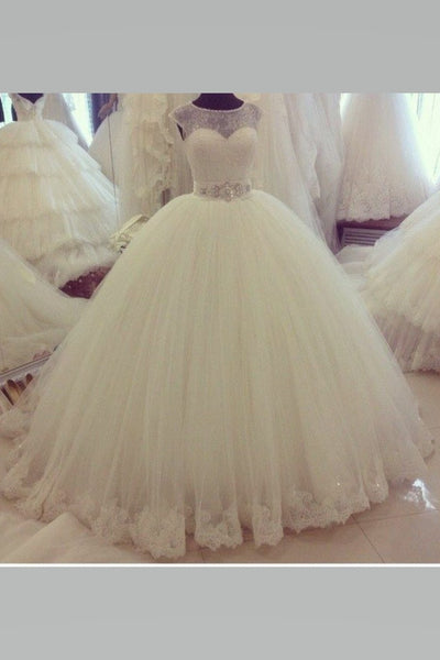 illusion-lace-ball-gown-wedding-dress-ivory-tulle-skirt