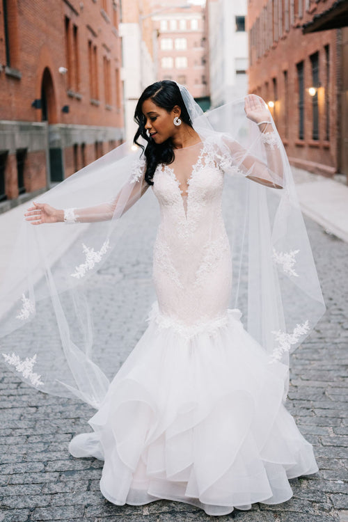 illusion-lace-bateau-neck-ruffles-mermaid-wedding-dresses-long-sleeves