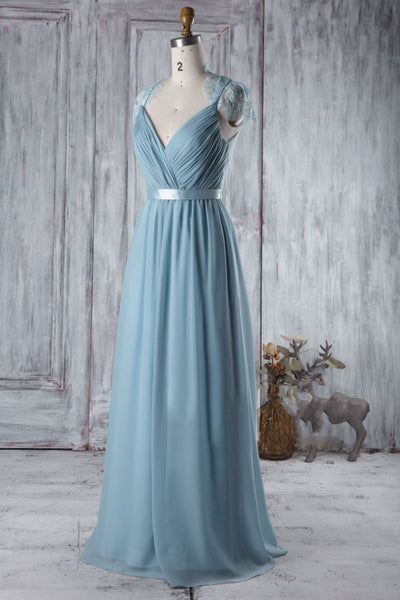 illusion-lace-cap-sleeves-bridesmaid-dresses-with-chiffon-skirt