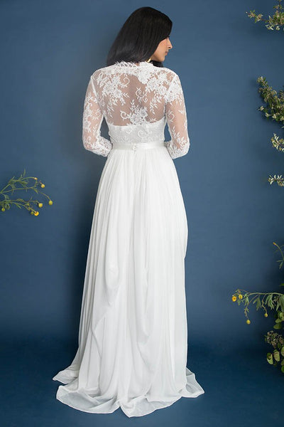 illusion-lace-long-sleeves-wedding-dress-chiffon-skirt-1