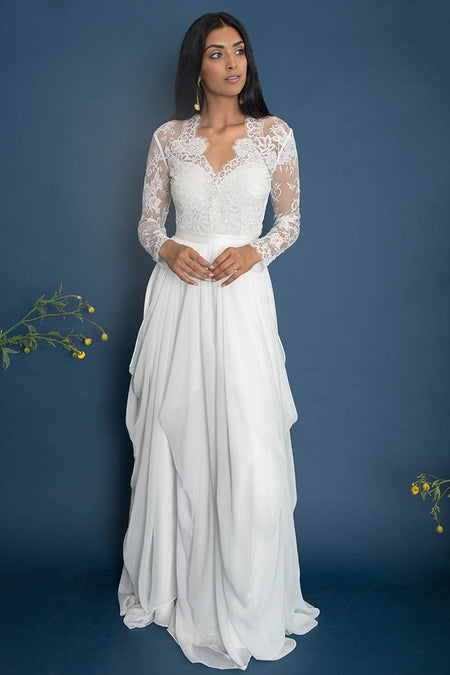 Backless Boho Style Wedding Gowns with A-line Skirt
