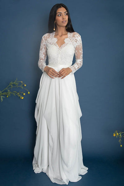 illusion-lace-long-sleeves-wedding-dress-chiffon-skirt