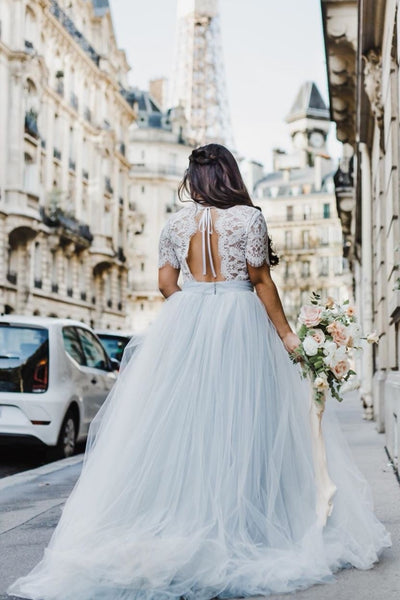 illusion-lace-short-sleeves-wedding-dress-boho-tulle-skirt-1