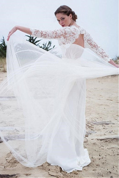 illusion-lace-sleeves-boho-wedding-gown-with-tulle-skirt