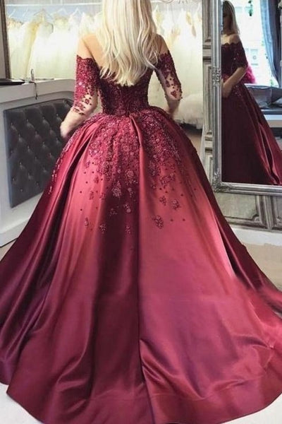 illusion-long-sleeve-burgundy-evening-ball-gown-beaded-skirt-1