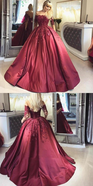 illusion-long-sleeve-burgundy-evening-ball-gown-beaded-skirt-2