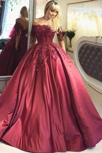illusion-long-sleeve-burgundy-evening-ball-gown-beaded-skirt