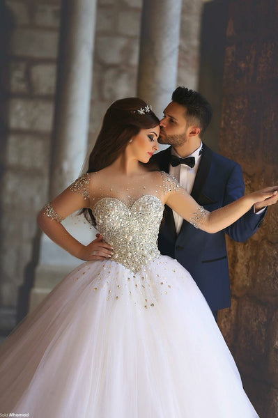 illusion-long-sleeves-bride-wedding-dress-rhinestones-ball-gown-1