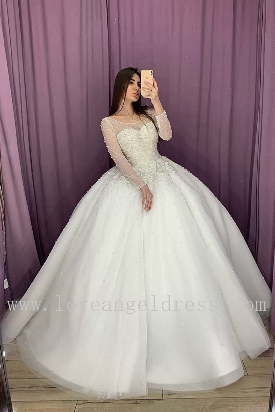 illusion-long-sleeves-pearls-wedding-dress-ball-gown-2020