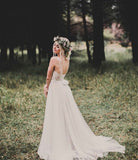 illusion-neck-a-line-lace-boho-wedding-dress-with-tulle-skirt-1
