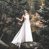 illusion-neck-a-line-lace-boho-wedding-dress-with-tulle-skirt-2