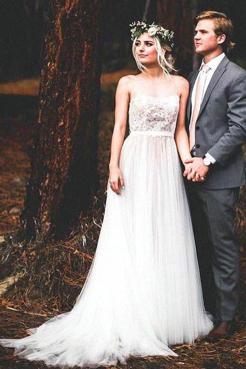 illusion-neck-a-line-lace-boho-wedding-dress-with-tulle-skirt
