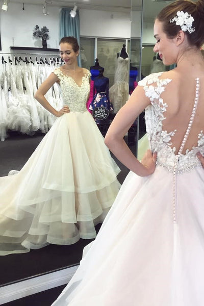 6a5b3df7927 Illusion Neckline Lace Cap Sleeves Bridal Dresses with Tiered Skirt –  loveangeldress