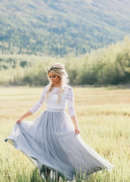 illusion-neckline-lace-outdoor-wedding-dresses-with-dusty-blue-skirt-1