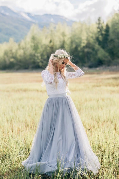 illusion-neckline-lace-outdoor-wedding-dresses-with-dusty-blue-skirt