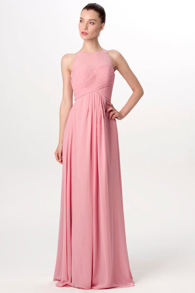 c38e0d231b2 Illusion Neckline Long Chiffon English Rose Bridesmaid Dresses –  loveangeldress