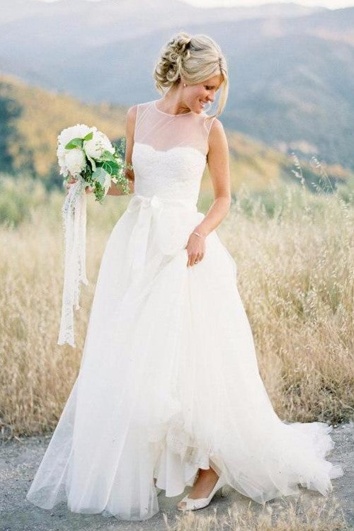 illusion-neckline-simple-boho-wedding-gowns-with-tulle-skirt