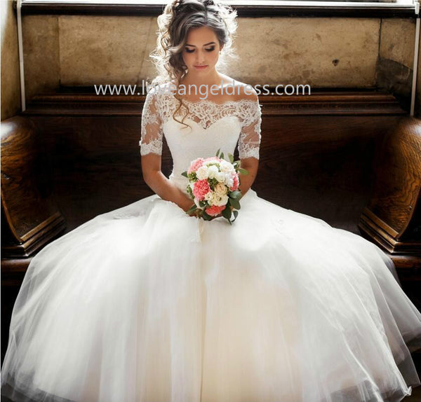 Wedding Dress Sleeves.Illusion Off The Shoulder Princess Wedding Dress With Sleeves