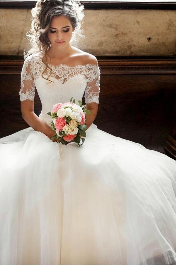Illusion Off-the-shoulder Princess Wedding Dress with Sleeves ...