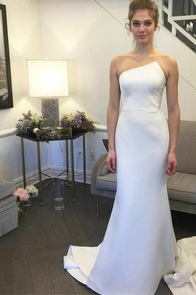 09758622c8c48 Irregular Strapless Simple Satin Wedding Gown Mermaid Style vestido de  noiva sereia