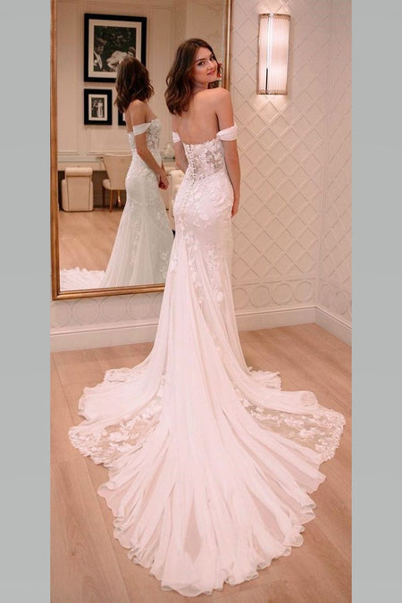 Boat Neck Satin A-line Wedding Gown with Pockets