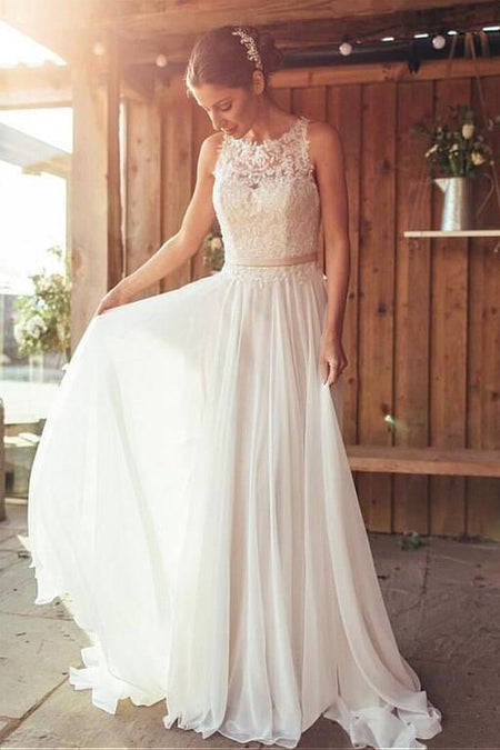 Simple Satin Boho Wedding Dresses with Ribbon Belt