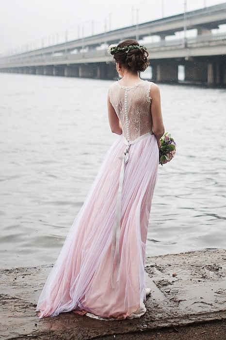 Ivory Lace Beach Wedding Dress With Pink Tulle Skirt Loveangeldress