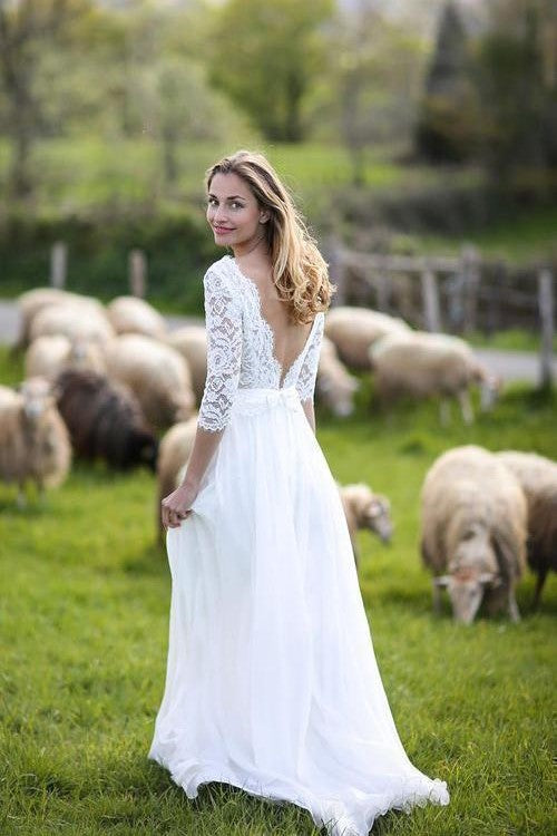 ivory-lace-chiffon-boho-wedding-gown-with-34-sleeves-1
