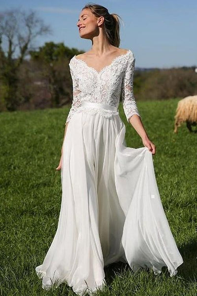 ivory-lace-chiffon-boho-wedding-gown-with-34-sleeves
