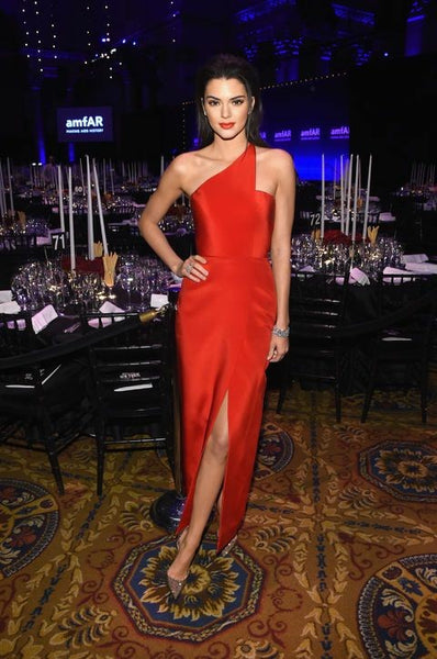 Kendall Jenner Asymmetric One Shoulder Red Carpet Dresses with Slit Side