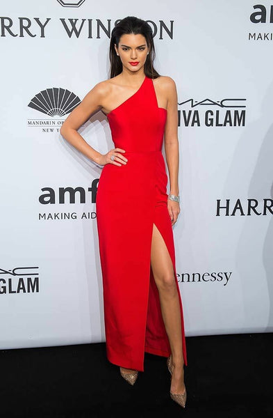 a419edf29f6d Kendall Jenner Asymmetric One Shoulder Red Carpet Dresses with Slit Si –  loveangeldress