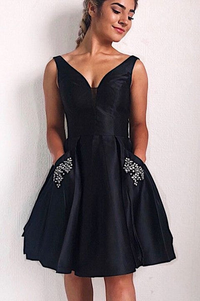 knee-length-black-homecoming-gown-dress-with-rhinestones-pockets