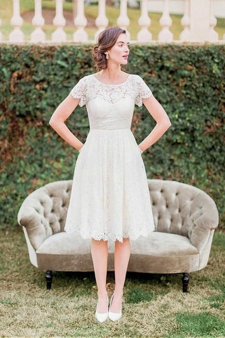 Crew Neckline Lace Tea-length Wedding Dresses Long Sleeves