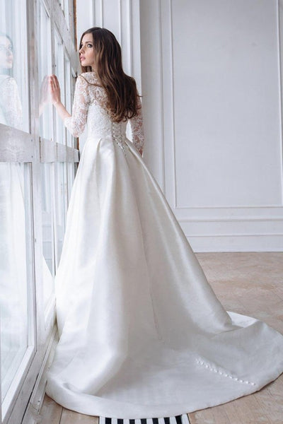 lace-3-4-sleeves-wedding-dresses-with-satin-skirt-1