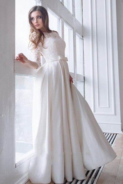 lace-3-4-sleeves-wedding-dresses-with-satin-skirt-2