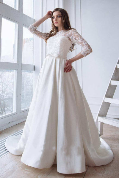 lace-3-4-sleeves-wedding-dresses-with-satin-skirt