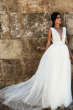 lace-appliques-a-line-tulle-affordable-wedding-dress-with-plunging-v-neck