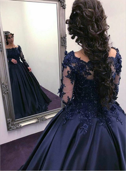 Lace Beaded Long Sleeves Navy Prom Ball Gown Dress Boat