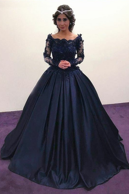 527091f6168 loveangeldress Scoop Neck Lace Tulle Red Ball Gowns Long Sleeved Evening  Dresses.  288.99.  498.00. SALE. lace-beaded-long-sleeves-navy-prom-ball- gown-
