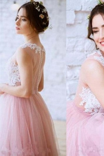lace-blush-pink-tulle-wedding-dress-with-illusion-neckline-1