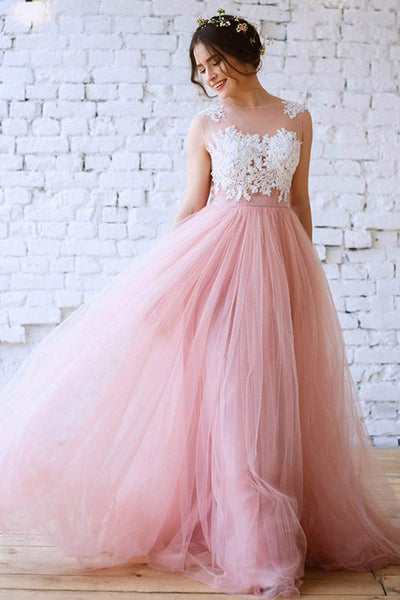 lace-blush-pink-tulle-wedding-dress-with-illusion-neckline