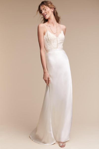 37482f66497 Lace Bodice Casual Wedding Dress with Spaghetti Straps – loveangeldress