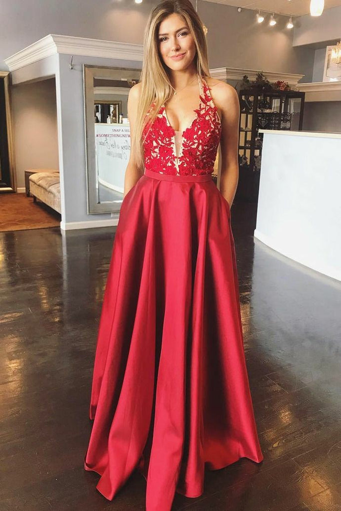 0b6b3da4213 Lace Bodice Halter Red Prom Evening Dresses with Pockets ...