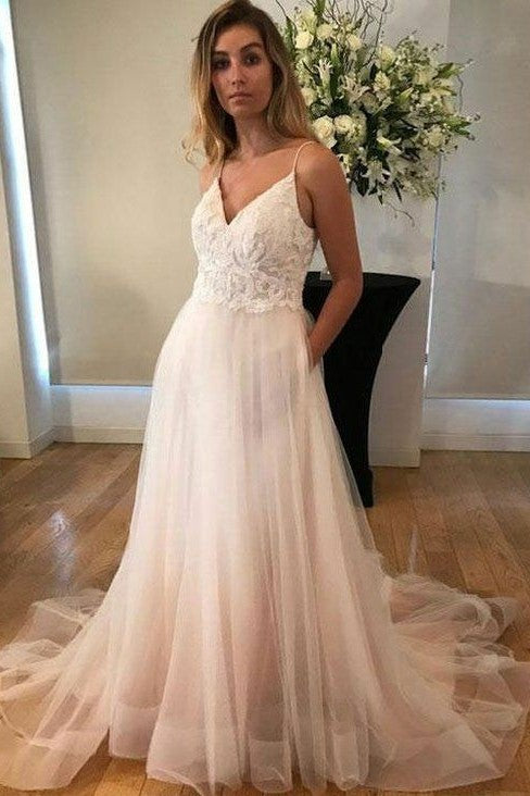 8218df3a64f lace-bodice-v-neck-casual-wedding-dresses-tulle-
