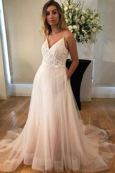 1fa9906a36 Lace Bodice V-neck Casual Wedding Dresses Tulle Skirt – loveangeldress -