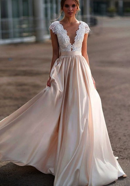 lace-cap-sleeves-wedding-dress-with-champagne-skirt