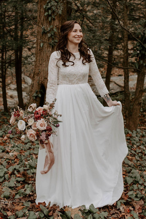 lace-chiffon-boho-wedding-dresses-with-long-sleeves